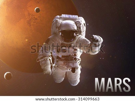 Colorful shot that shows NASA's astronaut in open space near planet Mars. Elements of this image furnished by NASA. - stock photo