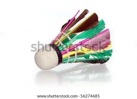Colorful shuttlecock isolated on white background - stock photo