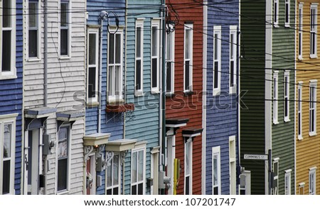 Colorful side streets of St. John's, Newfoundland, Canada - stock photo