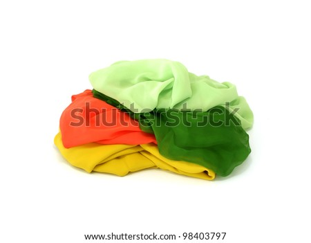 colorful silk isolated on white background - stock photo