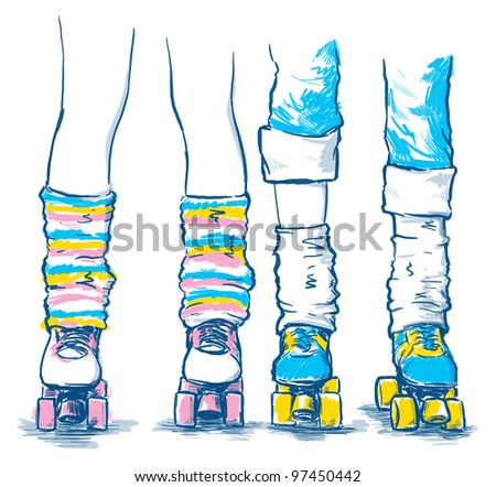 Colorful Skates with Stockings - stock photo