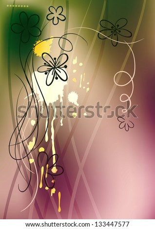 colorful sketch flowers - stock photo