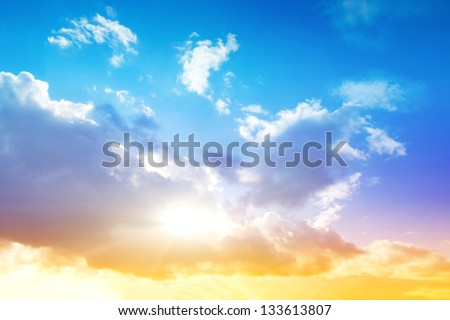 Colorful sky and sunrise. Natural landscape - stock photo
