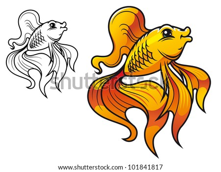 Colorful smiling golden fish in cartoon style isolated on white background. Vector version also available in gallery - stock photo