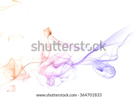 Colorful smoke blue yellow golden abstract texture of smoke on white background - stock photo