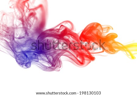 Colorful smoke on the white background. - stock photo