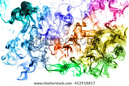 Colorful smoke  on white background,select focus with shallow depth of field:ideal use for background. - stock photo
