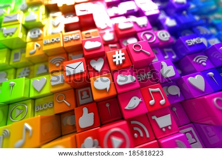 Colorful social media icons - stock photo