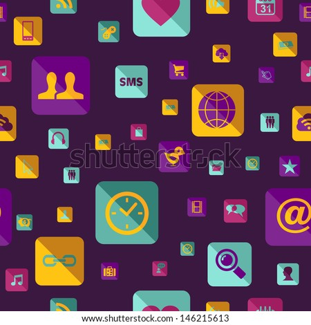 Colorful social media network app icon pattern. This illustration is layered for easy manipulation and custom coloring - stock photo