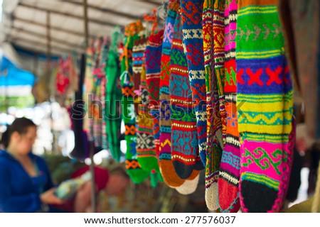 Colorful socks at Dry Bridge market in Tbilisi, Georgia. Dry bridge today is most famous flea and souvenir market in Georgia - stock photo