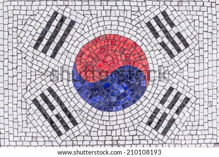Colorful South Korean flag mosaic  - stock photo