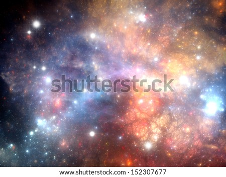 Colorful space nebula (All art elements made by me) - stock photo