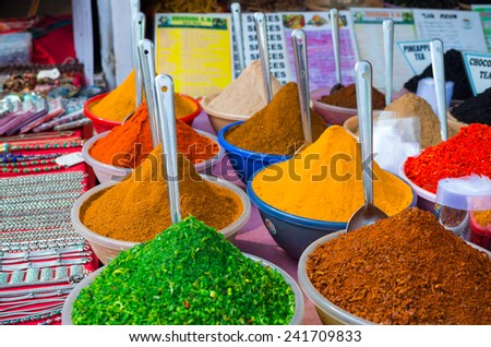 colorful spices at indian market - stock photo
