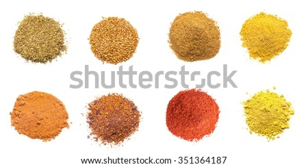 Colorful spices variety collection isolated on white background - stock photo