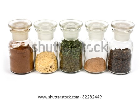 colorful spices with white background - stock photo