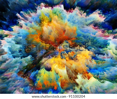 Colorful splatter of digital paint with fine texture suitable as backdrop for art projects - stock photo