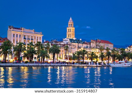Colorful split waterfront evening view, Dalmatia, Croatia - stock photo