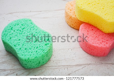 colorful sponges for washing - stock photo