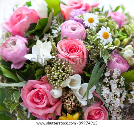 colorful spring flowers bouquet. pink roses - stock photo