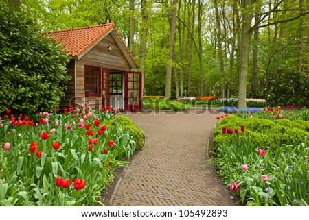 Colorful spring flowers in dutch  garden Keukenhof in Holland - stock photo