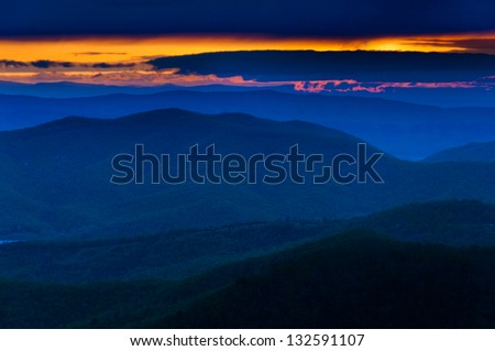 Colorful spring sunset over the Blue Ridge Mountains from Skyline Drive in Shenandoah National Park, Virginia - stock photo