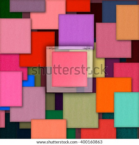 colorful square eye shadows with product - stock photo
