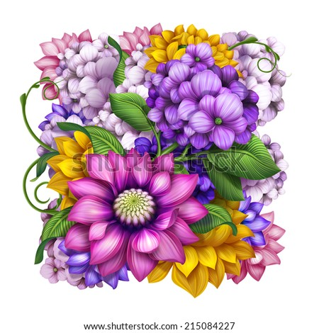 colorful square floral composition isolated on white, assorted flowers illustration - stock photo