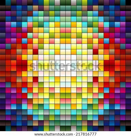 Colorful squares, pixels or mosaic tiles, gradient mid-tones colors - stock photo