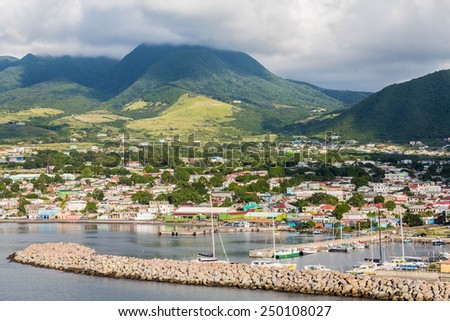 Colorful St Kitts twon in the Caribbean - stock photo
