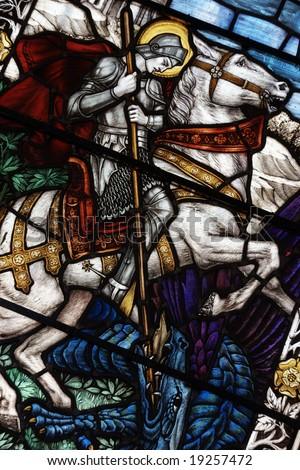 Colorful Stained Glass Window with a picture of Saint George - stock photo
