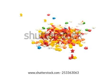 Colorful Star Cake Sprinkles - stock photo