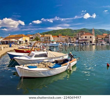 Colorful Stari Grad on Hvar island waterfront view, square composition, Dalmatia, Croatia - stock photo