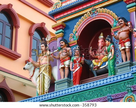 Colorful Statues of Hindu Gods at an  Indian temple - stock photo