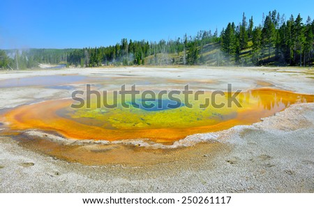 colorful steaming geyser pool in Upper Geyser basin of Yellowstone National Park, Wyoming - stock photo