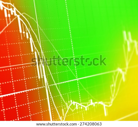colorful Stock Market Graph and Business Bar Chart - stock photo