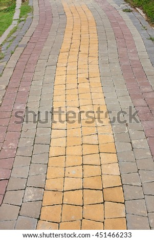 Colorful Stone pathway in the park - stock photo