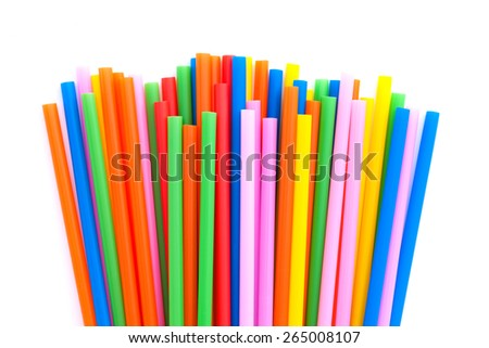 Colorful straw , isolated on white background - stock photo