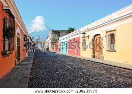 colorful street of Antigua, Guatemala - stock photo