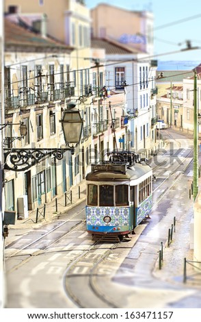 Colorful streets in Lisbon, Portugal  - stock photo