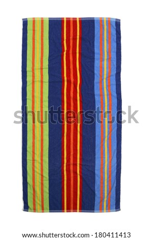 colorful striped beach towel on white  - stock photo