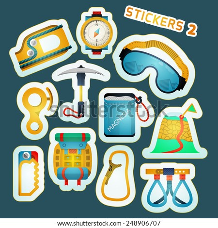 Colorful stylish stickers collection for alpinism or rock climbing or mountaineering on blue background. - stock photo