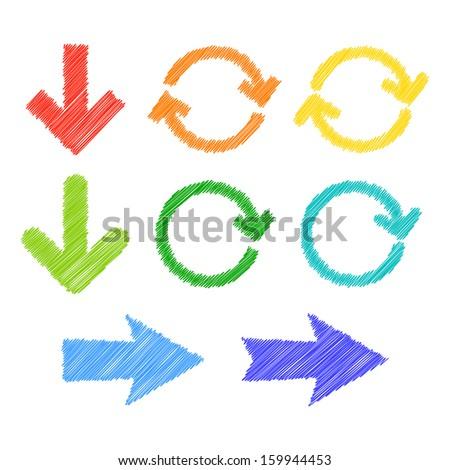 Colorful stylized arrows. 2d illustration. - stock photo