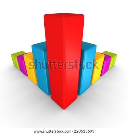 colorful success finance bar chart diagram on white. 3d render illustration - stock photo