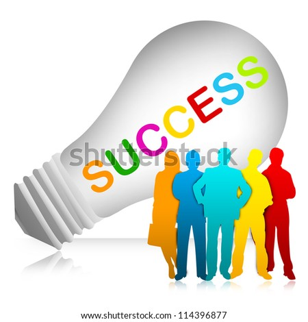 Colorful Success Text Inside The Light Bulb For Job and Business Concept Isolated on White Background - stock photo