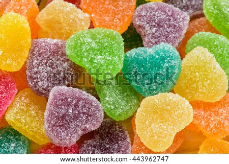 Colorful sugary candy, Multi colour Dessert sweet for child, Sugary candy heart shape background - stock photo