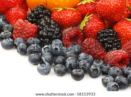 colorful summer fruit collection on a white background - stock photo