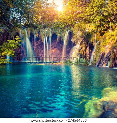 Colorful summer morning in the Plitvice Lakes National Park. Croatia. Europe. Lomography stylization and instagram toning effect. - stock photo