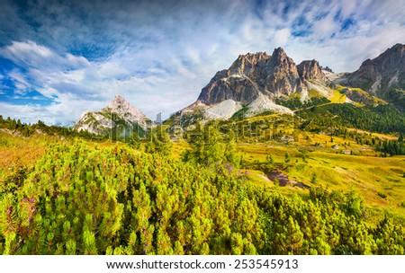 Colorful summer morning on the Tofane mountain range. View from Falzarego pass. Dolomites mountains, Alps, Italy, Europe. - stock photo