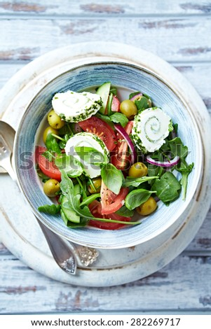 Colorful Summer Salad with Cream Cheese  - stock photo