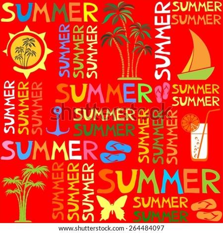 Colorful summer seamless pattern.  illustration - stock photo